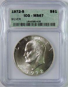 1972 S BU Silver Eisenhower Ike Dollar $1 Coin ICG Graded MS67 GEM Uncirculated