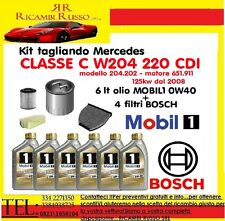 Kit tagliando 4 FILTRI BOSCH MERCEDES CLASSE C 220 CDI W204+olio MOBIL1 0W40 6LT
