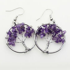 Natural Amethyst Chip Beads Tree of Life Round Reiki Chakra Silver Hook Earrings