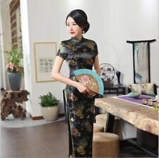 Black Vintage Women Long Qipao lady Cheongsam brocade Evening Chinese dress size