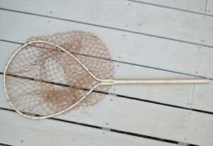 "Vintage METAL FISHING NET Aluminum 34"" Long Antique Shabby Chic Decor Beach"