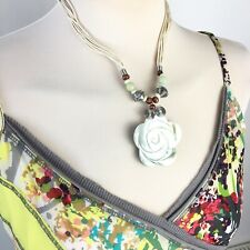 Mother Of Pearl Shell Natural Retro Look Boho Bhoneman Hippy Necklace