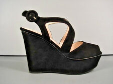 PRADA 35/5 BLACK SUEDE WEDGE PLATFORM STRAPPY SANDALS SHOES RUBBER SOLE NEW $856