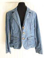 Talbots Jacket Blazer Denim Blue Cotton Stretch Size 10 Petite Long Sleeves