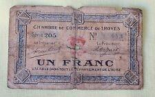 1921 GOOD FOR TOKEN - Un Franc Troyes France Chambre De Commerce PAPER