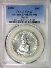 1920 Pilgrim Commemorative Half Dollar PCGS MS-62; Rev. Die Break FS-901