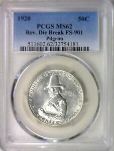 1920 Pilgrim Commemorative Half Dollar PCGS MS-62; Rev. Die Break FS-901