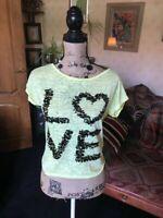 GEORGE Ladies Yellow Ditsy Cap Sleeve T Shirt Black Sequin Love Logo UK Size 8