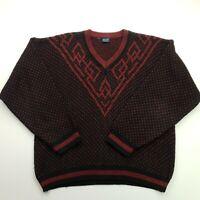 Mens Vintage Pullover Nordic LARGE  Black Acrylic Wool V-Neck  RETRO Oversized