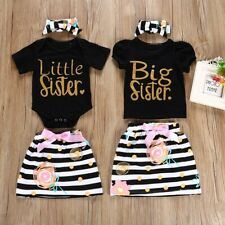 Baby Kids Girl Sister Matching Cotton Clothes T-shirt Romper Dress Skirt Outfits