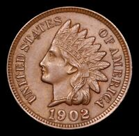 1902 Gem Indian Head One Cent Penny 1c GEM BU + Uncirculated BN Brown