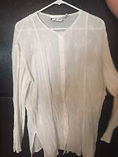 White Cotton Blouse With Leaf Design Size Large