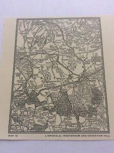 """Limpsfield Westerham Crockham Hill c1920 Antique Map London South of Thames 5x4"""""""