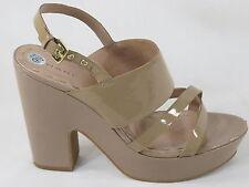 Tahari Mindy Nude Patent Leather Platform Sling Back Sandal Heels 9.5 M US EUC