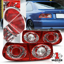 Clear/Red *EURO ALTEZZA* Tail Light Reverse Brake Lamp for 96-00 Honda Civic 2Dr