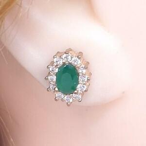 1.29ctw Columbian Emerald White Sapphire 14K Yellow Gold 925 Stud Halo Earrings