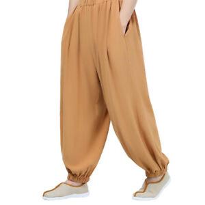 Mens Kung Fu Tai Chi Pants Martial Arts Trousers Loose Buddhist Pants Uniforms