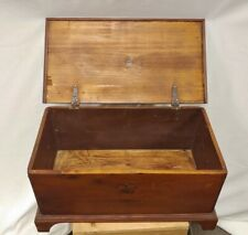 EARLY ANTIQUE BLANKET CHEST HAND MADE  WOOD AMERICANA PRIMITIVE IRON HANDLES