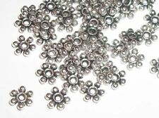 Antique silver plated daisy flower shaped spacer bead 6mm   - 100 pc  (2876)