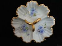 Vtg Hand Painted Blue Violets Divided Candy Dish Heavy Gold Trim Signed FR SHP