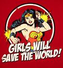 Wonder Woman '70's Lynda Carter TV Girls Will Save The World Sticker or Magnet