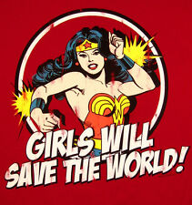 Wonder Woman '70's TV Girls Will Save The World Sticker or Magnet