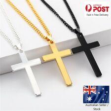Necklace Cross Pendant Steel Stainless Chain Men Women Religious Jesus Crucifix