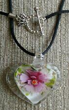Unique Handmade Glass Lampwork Necklace Pendant - Pink Flower - Gift - Ladies