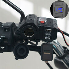 12V Motorcycle Dual USB Charger Cigarette Lighter Socket Voltmeter Waterproof 1x