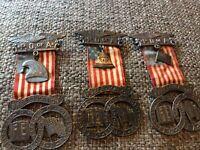 (3) P.O. Of A.  Free Education Medals Pinbacks 1917 Philadelphia Wm Lehnberg