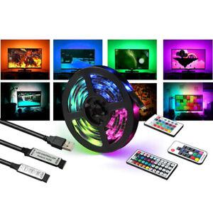 LED Strip Light Bar TV Back Lighting Kit+USB Remote Control 5V 5050 60SMD/M RGB