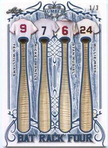 2021 Leaf Lumber Ted Williams Mickey Mantle Musial Willie Mays Rack 4x Bat #/3