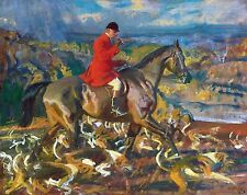 "Sir Alfred Munnings, Fox Hunting, Hounds, Horse, antique decor, 14""x11"" ART"
