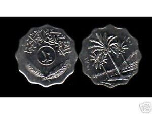 IRAQ 10 FILS KM126 1967-1981 PALM AUNC COIN LOT X 100 PCS GULF ARAB IRAQI MONEY