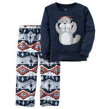 Nwt Infant Boys Carter'S 2-Pc Pajamas Sets Fleece Thermal Monsters Space Moose