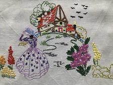 Vintage Embroidery Crinoline Lady Irish Linen Table Runner Curtain Antimacassar