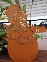 Edelrost Schneemann auf Platte  Metall Weihnachten Christmas Landhaus 22x30cm