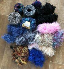 Ribbon & eyelash yarn multicolor skein lot boho lattice knit crochet craft black