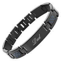 Willis Judd Mens Titanium DAD with Carbon Fiber Bracelet Engraved Love You Dad