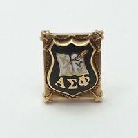 Vintage 14K Gold Alpha Signa Phi Fraternity Sorority Black Enamel Pin 4.8gr