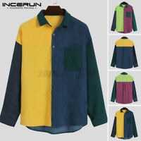 Mens Vintage Patchwork Shirts Long Sleeve Casual Formal Workwear Tops Tee Blouse