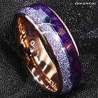 8/6mm Rose Gold Tungsten Ring Purple Agate Meteorite Arrow ATOP Men Wedding Band
