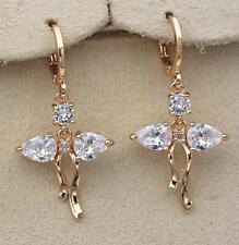 """18K Gold Filled - 1.5"""" Hollow Teardrop Topaz Gemstone Bow Dangle Earrings DS"""
