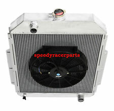 """FOR 48-52 Ford F1-F8 Truck w/Chevy L6/V8 3Row Aluminum Racing Radiator+14"""" Fan"""