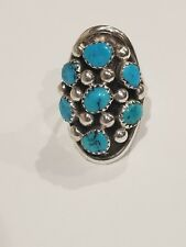 Vintage Navajo Native American  Turquoise Ring  signed JTSO