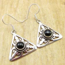 "925 Silver Plated Round Black Onyx PIERCED Earrings 1.7"""