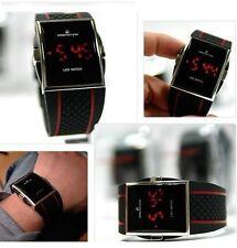 Orologio Digitale Led Rossi Unisex Wrist Watch Nero Ampio Display per Anziani