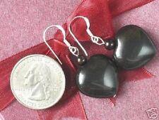 Gemstone Earrings Obsidian Huge 20mm Heart Beads 925