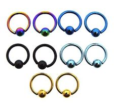 """5 Diff Pairs Of 16G 5/16"""" Inch Cbr Blackline Rings Body Jewelry Earrings"""