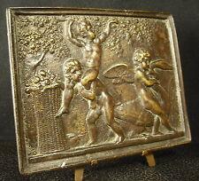 * Important et ancien bas-relief en bronze angelots jouants Cherubs playing